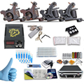 new Complete profession Tattoo kits 10 wrap coils 4 guns machine Tattoo needles set power supply disposable needle Foot pedal