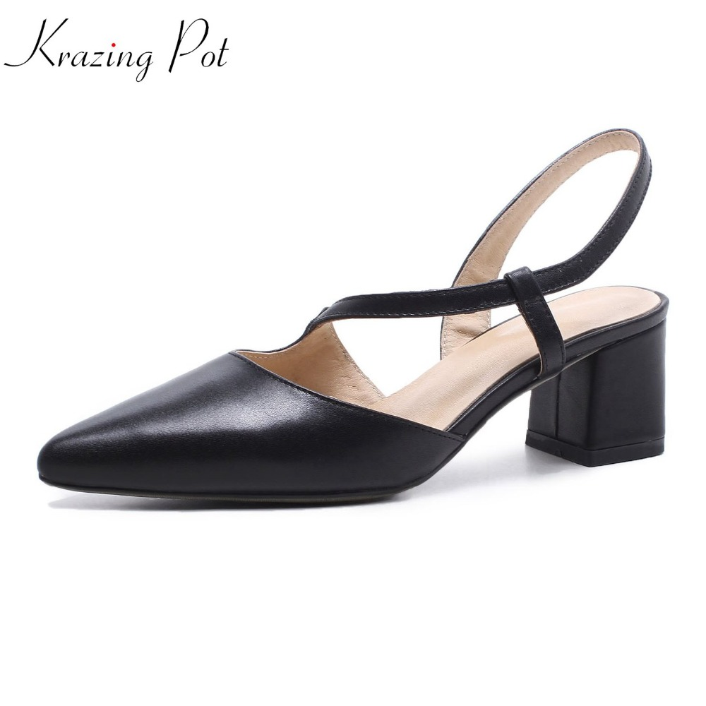 Krazing Pot full grain leather pointed toe solid streetwear shallow shoes high heels fashion concise style women sandals L33 krazing pot 2018 fashion full grain leather solid round toe rivets decoration thigh high boots streetwear riding knee boots l1f3