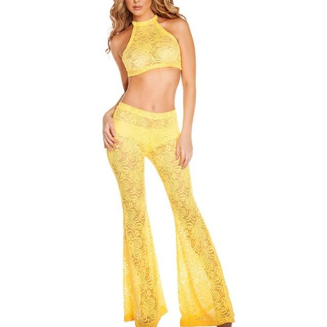Halter top de culturas e calças set sino de fundo balck branco amarelo tecido de renda transparente sexy clubwear 2017 conjunto de duas peças A43007