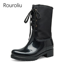 New Fashion Women Lace-up Square Heels Non-slip Rain Boots Back Zipper Mid-calf Rainboots Waterproof Woman Water Shoes #TR213