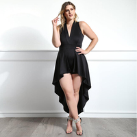MISS Behave Plus Size Women New Sleeveless Dresses Sexy Club V neck Slim Asymmetrical Party Dress