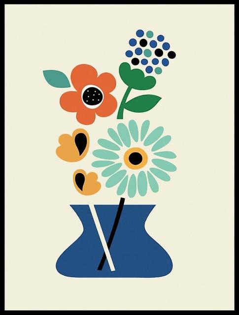 Kartun Tanaman Bunga Kanvas Lukisan Cetakan Gambar Dinding Untuk