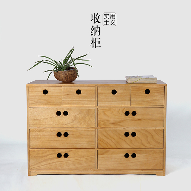 Folk Art Home Solid Wood Drawer Storage Cabinets Wooden Lockers Drawers Modern Minimalist Bedroom Nightstand