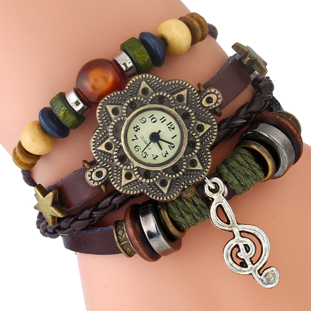 Gnova Platinum Genuine Leather Bracelet Women Watch Music Charm Sol Note Vintage