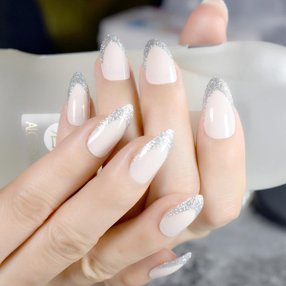 Beige STILETTO Shape Fake Nails Silver Glitter Point French Nail ...