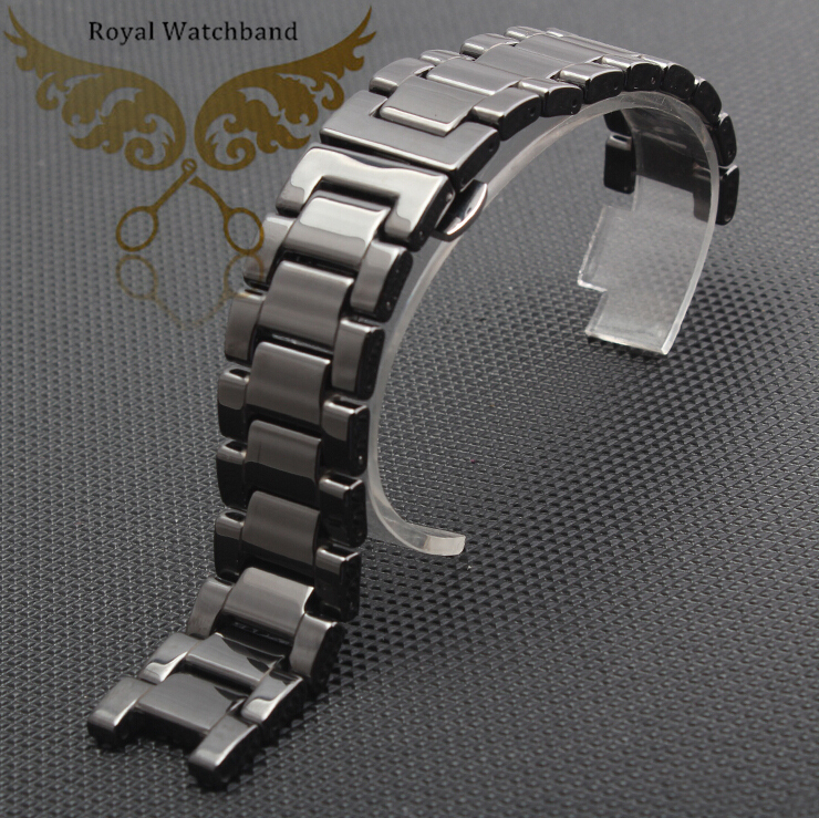 Promotion 20mm Top Grade Quality Black Ceramics Watch Bands Bracelets Deployment Butterfly Clasp Free Shipping