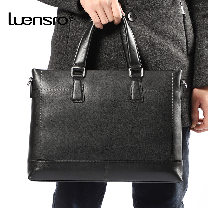Black Leather Briefcase 100% Natural Skin Men Bussiness Bag High Quality Shoulder Messenger Bag Fashion Laptop Briefcase Male