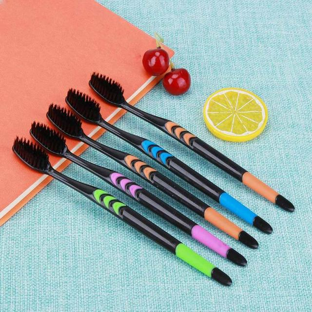 Soft Personal Oral Care Bamboo Charcoal Toothbrushes 5 pcs Set