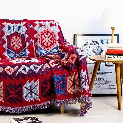 Sturagher motif bohême géométrique tapis tapis exotique géométrique literie tricoté canapé couverture corps canapé pour plancher de pique-nique