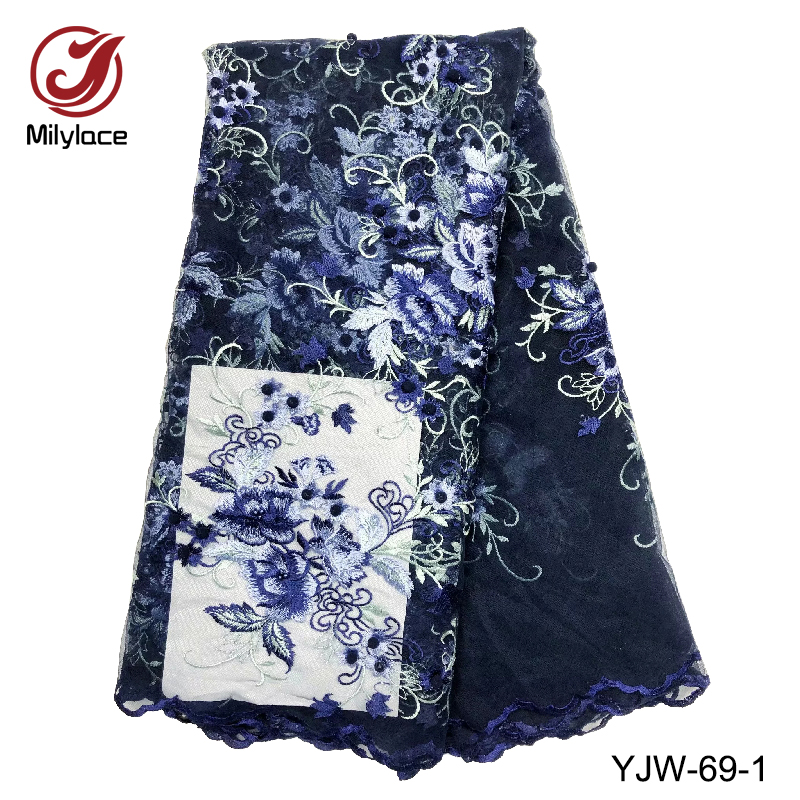 Quality guaranteed navy blue lace fabric 5 yards high end french lace fabric 2018 top sale