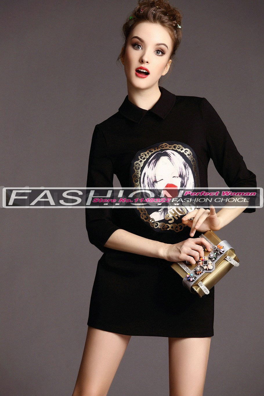 Новое весеннее женское платье лацкан мультфильм печати Прямое выставочное платье для стройных платьев