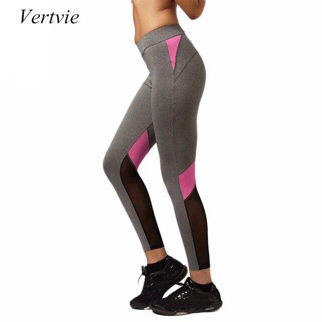 6b56fe2176f Vertvie mujeres Pantalones de yoga sexy malla patchwork gimnasio fitness  jogging Leggings alta cintura delgada Mallas