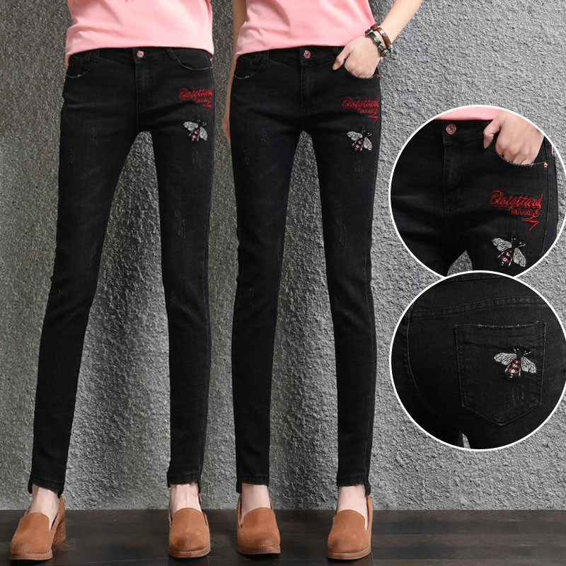 ФОТО black jeans women 2017 Cotton stretch jskinny jeans Pencil pants trousers women jeans with embroidery