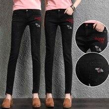 Черные джинсы женщин 2017 Хлопок стрейч jskinny джинсы Карандаш брюки брюки женские джинсы с вышивкой