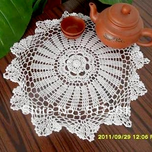 Nice Fashion Design White 36 Cm Round Tea Tabe Runner Handmade Crochet Coffee Table  Cover As Decoration