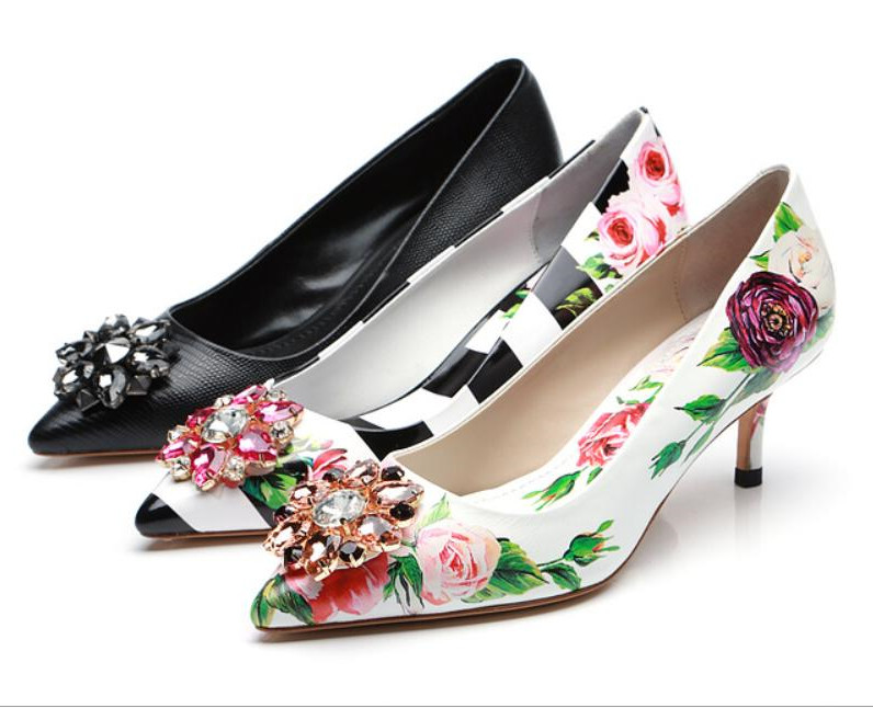 Luxury floral prints high heels shiny crystal bridal wedding party shoes ladies pointed toe stiletto women