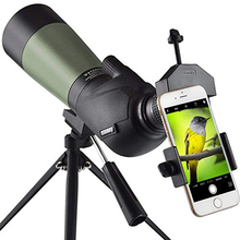 20-60x60 HD Spotting Scope with Tripod, Carrying Bag and Phone Adapter - BAK4 45 Degree Angled Eyepiece Telescope