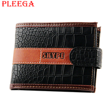 PLEEGA Brand Designer Alligator PU Men Wallets Leather Coin Pocket Wallet Men Short Wallet Card Holder Crocodile Hasp Purse
