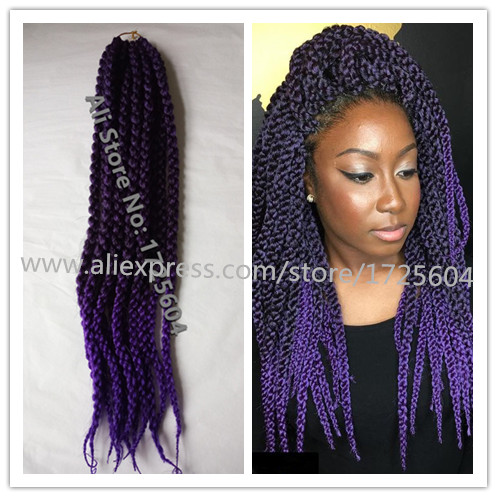 New Style Blended Purple Crochet Braids Hair 24 Split Cubic Twist Kanekalon