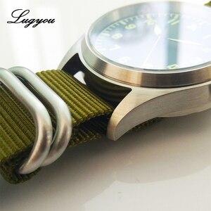 Image 5 - Lugyou San Martin Pilot นาฬิกาผู้ชายอัตโนมัติสแตนเลสกันน้ำ 20 ATM NH35 สีเขียวส่องสว่าง NATO ไนลอน Sapphire