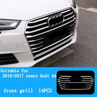 MONTFORDABS Chrome Auto Accessories Front Middle Grill Trim Strips Bumper Grille Sticker Automobiles For Audi A4 B9 2017