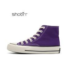653a3f671 Korea Pop Star Women Flat Canvas Shoes Purple Lace Up Student Board sneakers  Girls Casual Shoe