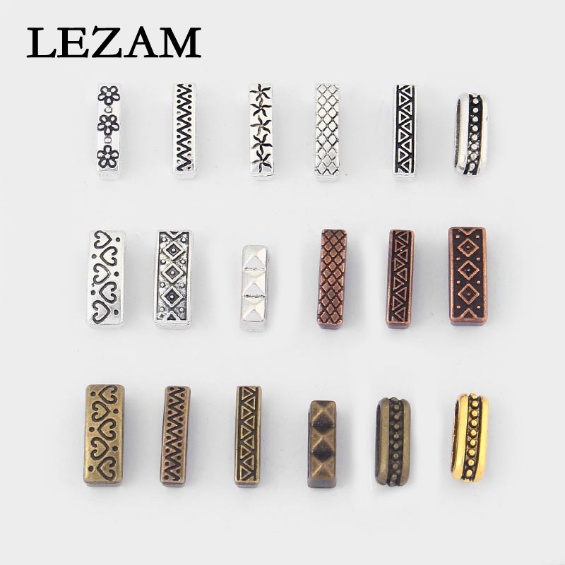 20pcs Antique Silver/Bronze/Copper/Gold Charms Flat Slider Beads Spacer For 10*2mm Flat Leather Cord Jewelry Accessories Bijoux