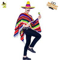 Funny Adult Unisex Mexican Cape Mens Carnival Party Fancy Dress Colorful Cape Halloween Costume For Men