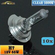 Бегемот H7 Halonge лампа 12V 55W прозрачный 3800K головной светильник 10 шт. лампа стеклянный автомобильный галогенный светильник