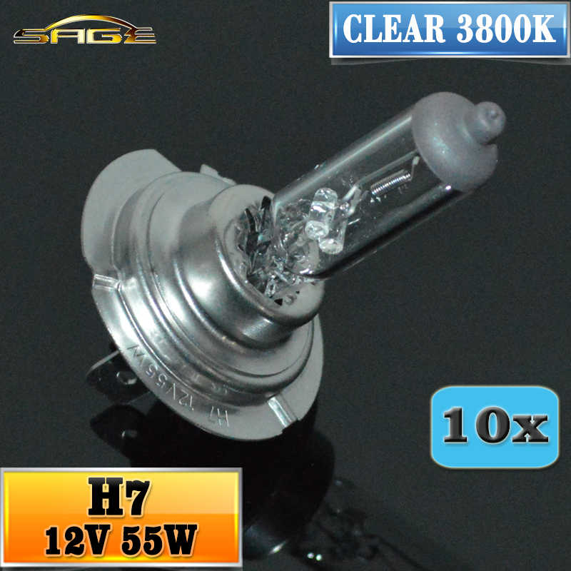 Hippcron H7 Halonge Lamp 12V 55W Clear 3800K HeadLight 10 PCS Bulb Glass Car Halogen Light