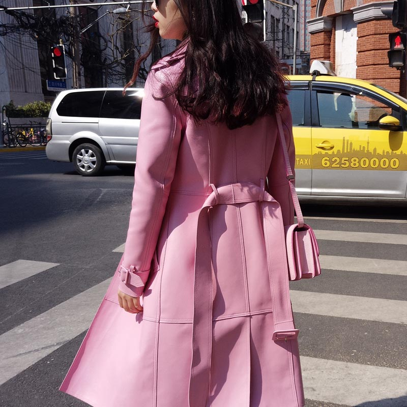 Robe Cuir Rose 2018 Long En D'hiver Outwear De Mode Style Peau Européen Femelle rose Noir Femmes Windcoat Véritable Mouton aq0n7xEv