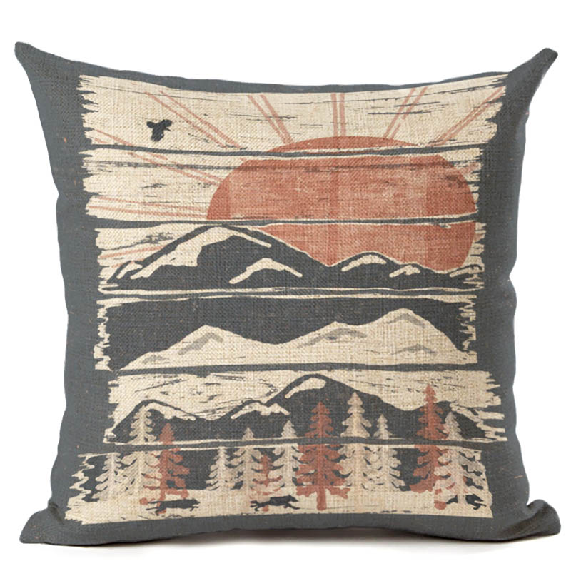 Forst Printing Cushion Cover Vintage Throw Pillowcase Square 45X45cm Cotton Linen Decorative Pillow cover in Cushion Cover from Home Garden
