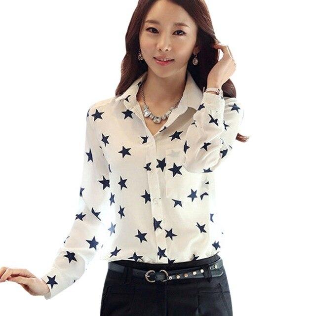 b23ec327e Senhora Blusa Casual Camisa Estrela Botão No Colarinho Mangas Compridas OL  Carreira Escritório de Trabalho