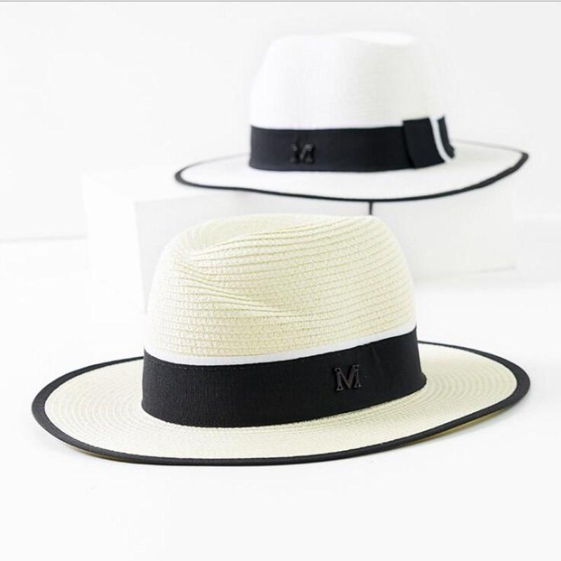 OZyc nueva moda Panamá sombrero de ala grande capo de Sun del sombrero de  paja de las mujeres del verano Sun sombrero con la cinta plegable ajustable 68fd7fe2052