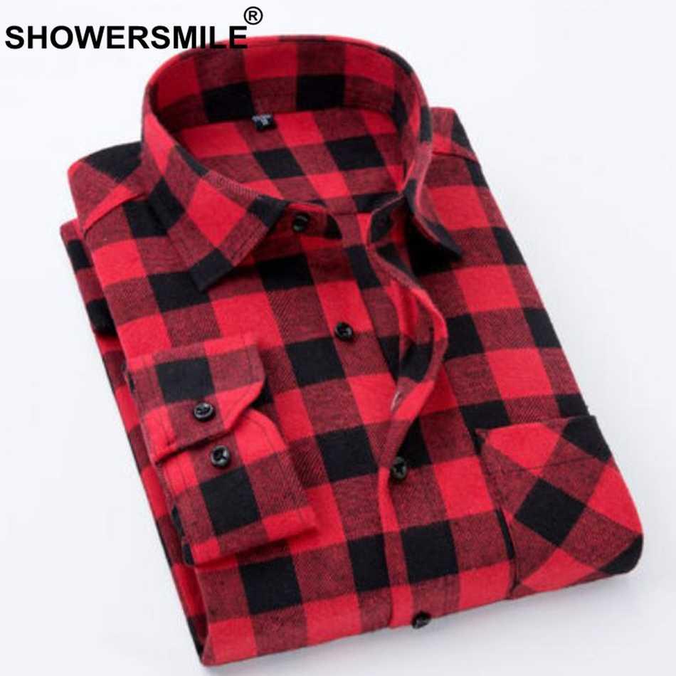 SHOWERSMILE повседневные рубашки клетчатая хлопковая рубашка для мужчин желтый длинный рукав Весна Осень Рубашки 4xl Мужская брендовая одежда красный черный
