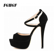 FGHGF WomenS High Heels Thin Buckle Strap Peep Toe Flock Material Evening Banquet Comfortable Wear