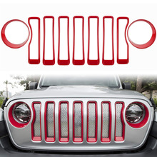 ChuangQian 9Pcs Red Front Grille Trim Inserts Grill Cover Head Turn Light for 2018 2019 Jeep Wrangler JL JLU Sport/Sports
