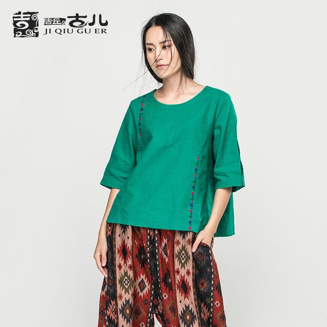 Jiqiuguer Original Bordado Sólido Mujeres Camiseta de Algodón Más El Tamaño de Lino Superior Patchwork Tres Cuartos Solid Tops G163Y019