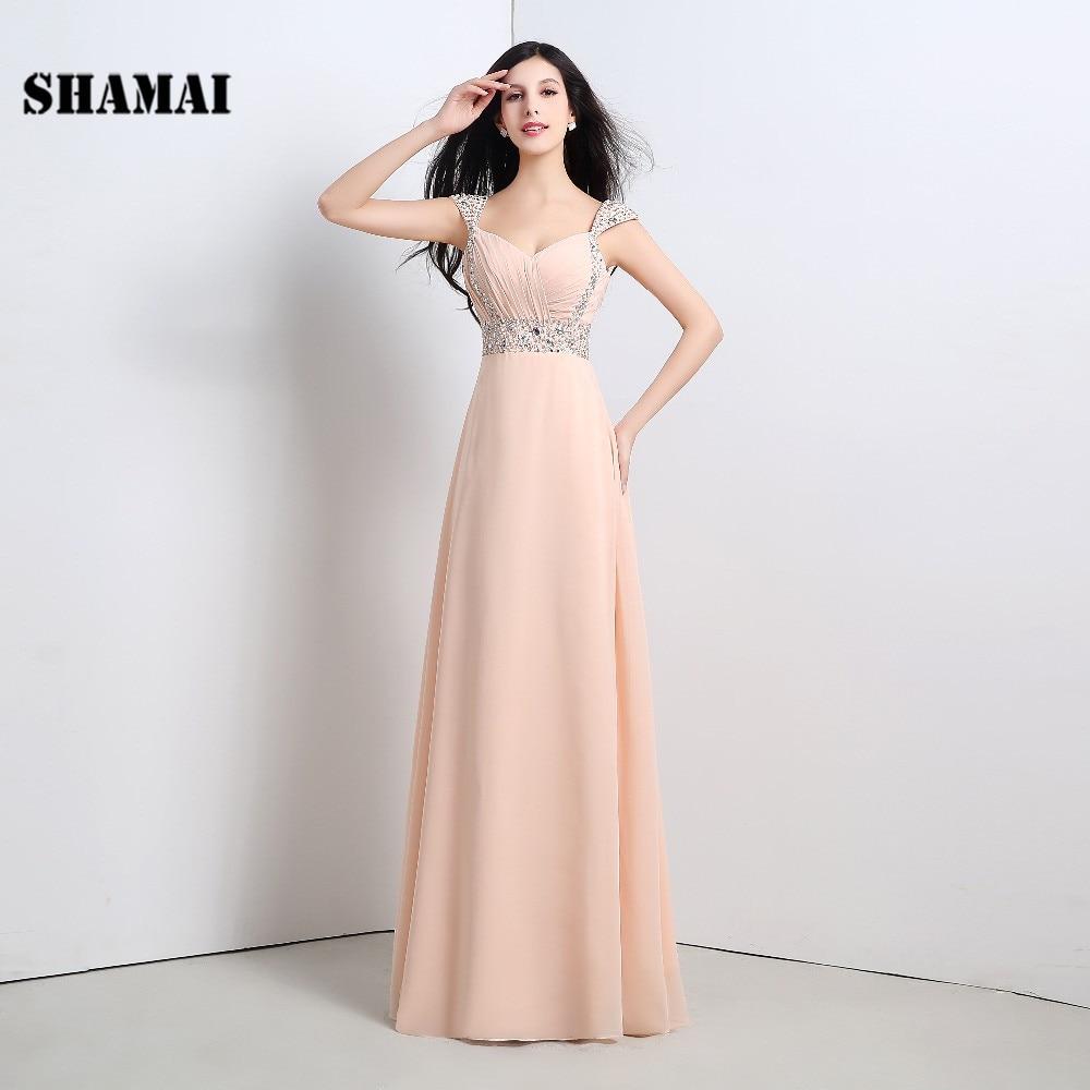 SHAMAI Fashion   Bridesmaid     Dress   Simple Floor Length Long Wedding   Bridesmaid     Dress   Crystal Beading Chiffon   Bridesmaid     Dresses