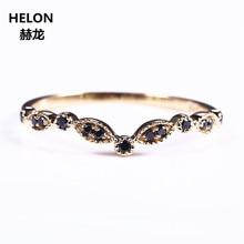 Solid 14k Yellow Gold Natural Black Certified Diamonds Wedding Band Engagement Ring Women Fine Millgrain Art Deco Vintage