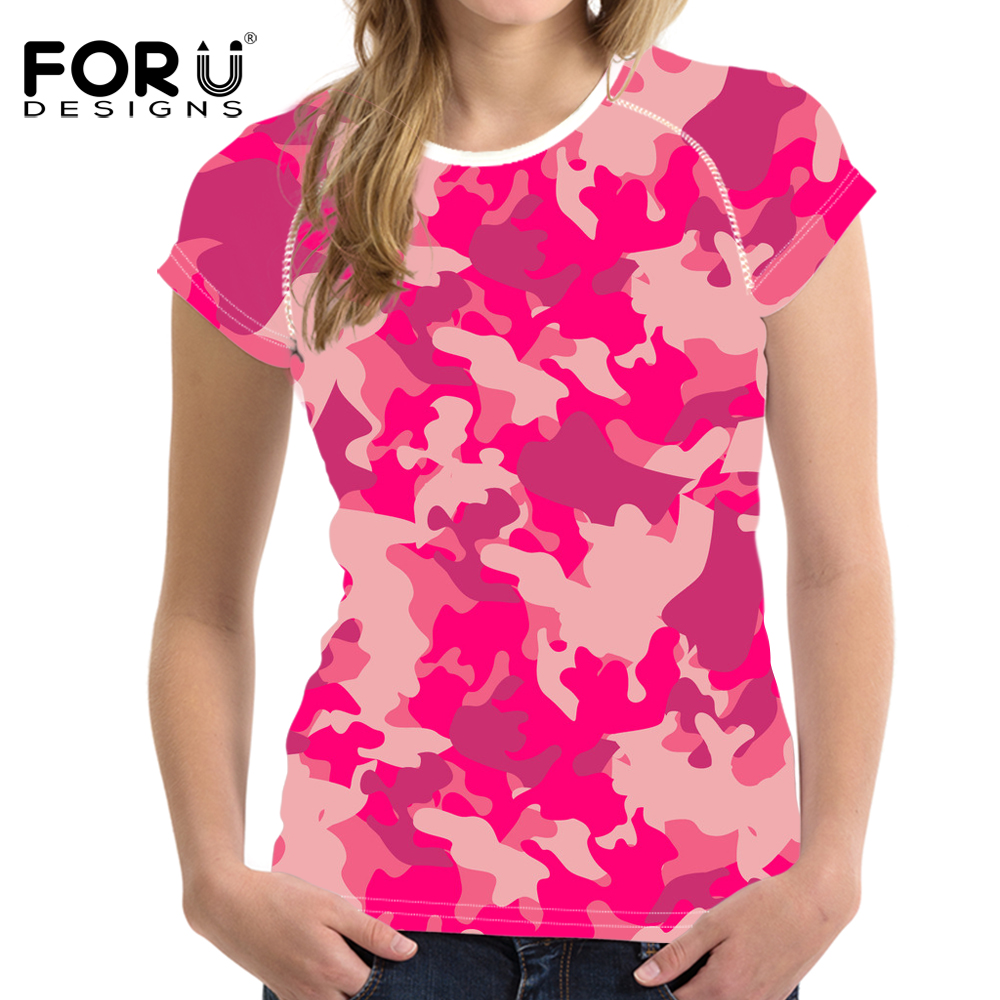 FORUDESIGNS Novelty Military camouflage T Shirt For Women Army Green tshirt Short Sleeved Ladies Elastic Top Tees Camo T-shirt