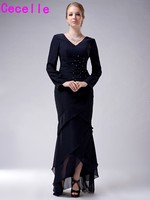 2019 Dark Navy Blue High Low Tiered Chiffon Mother Of The Bride Dresses With Long Sleeves Beaded Ruched Dress For Bride's Mother