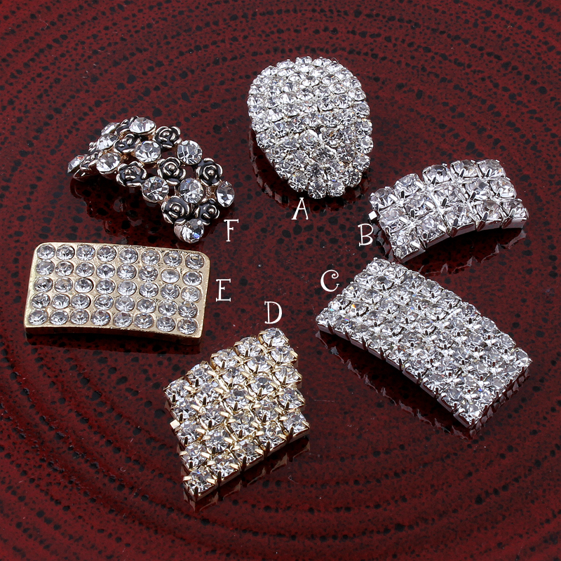 200pcs lot Newborn Rectangle Metal Flatback Crystal Button For Craft Bling Alloy Rhinestone Button for Grils