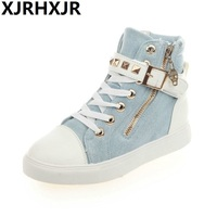 New 2017 High Top Shoes Women Fashion Rivets Canvas Shoes Women S Casual Shoes Flat Heel