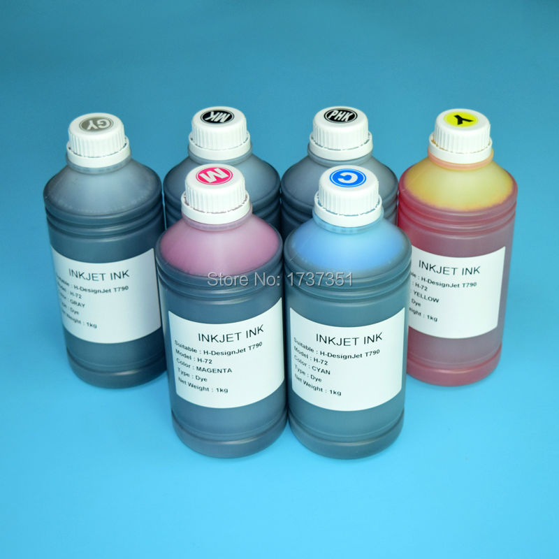 6color 1000ml HP72 Printing pigment and dye ink for HP 72 Designjet T610 T620 T770 T790 T1100 T1120 T1200 T1300 T2300 printer led uv curable ink for epson 1390 printer head printing on hard materials for 3d effects 1000ml pcs 6c
