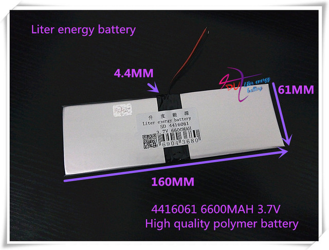 3.7V 6600mAH 4416061  (polymer lithium ion battery) Li-ion battery for tablet pc GPS  mp3 mp4 cell phone speaker