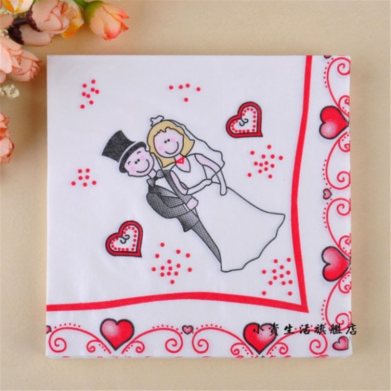 Hot Sale 20pcs 33*33cm Wedding Napkins Bride and Groom Colour Paper Napkin