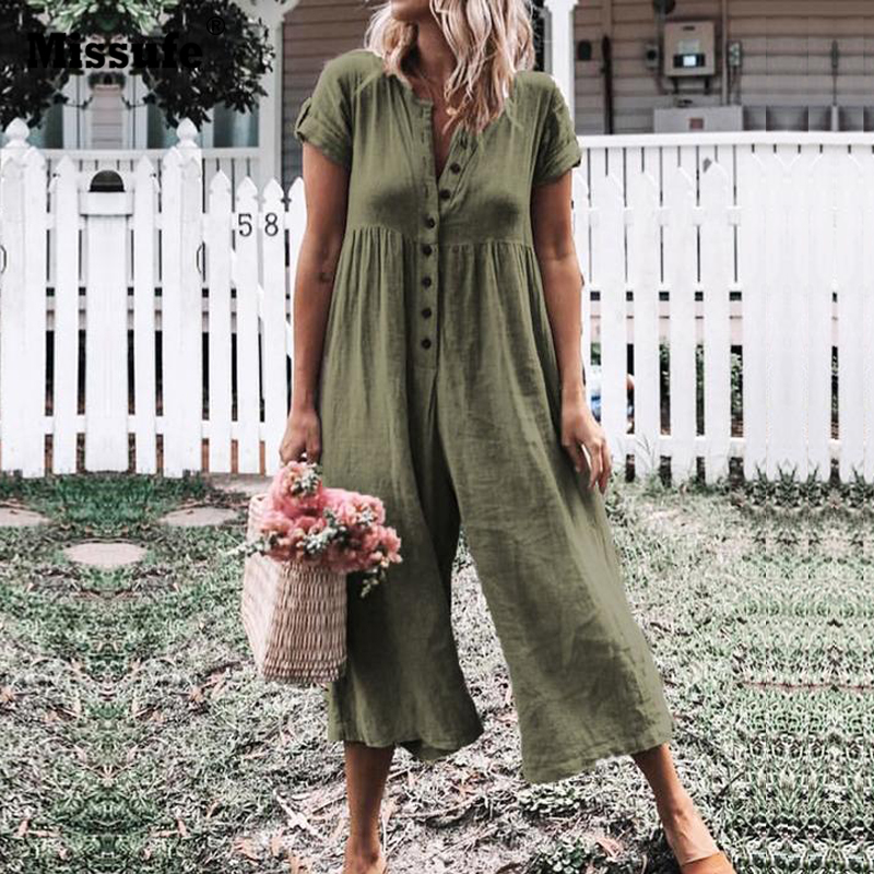 Missufe Cotton and Linen Loose   Jumpsuit   Short Sleeve Button Long Playsuit Casual Summer Beach Rompers Wide Leg Overalls Women