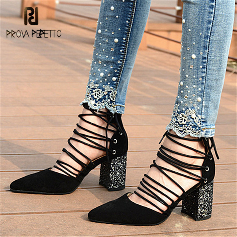 Prova Perfetto Pointed Toe Women High Heels Sexy Women Pumps Lace Up Female Summer Gladiator Sandals Suede Stiletto Dress Shoes цена