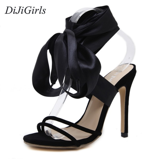 DiJiGirls women s high heels Peep Toe sandals Lace-Up ladies celebrity Concise  shoes woman Ankle Strap Pumps Black US5-9 4eb30ab36117